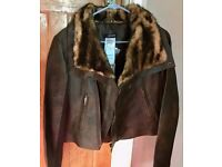 MORGANS BROWN LADIES JACKET WITH FAUX FUR COLLAR (SIZE 3)