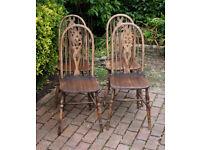 Ercol - Set of Four – Fleur De Lys - High Back - Oak - Dining Chairs - 1950's