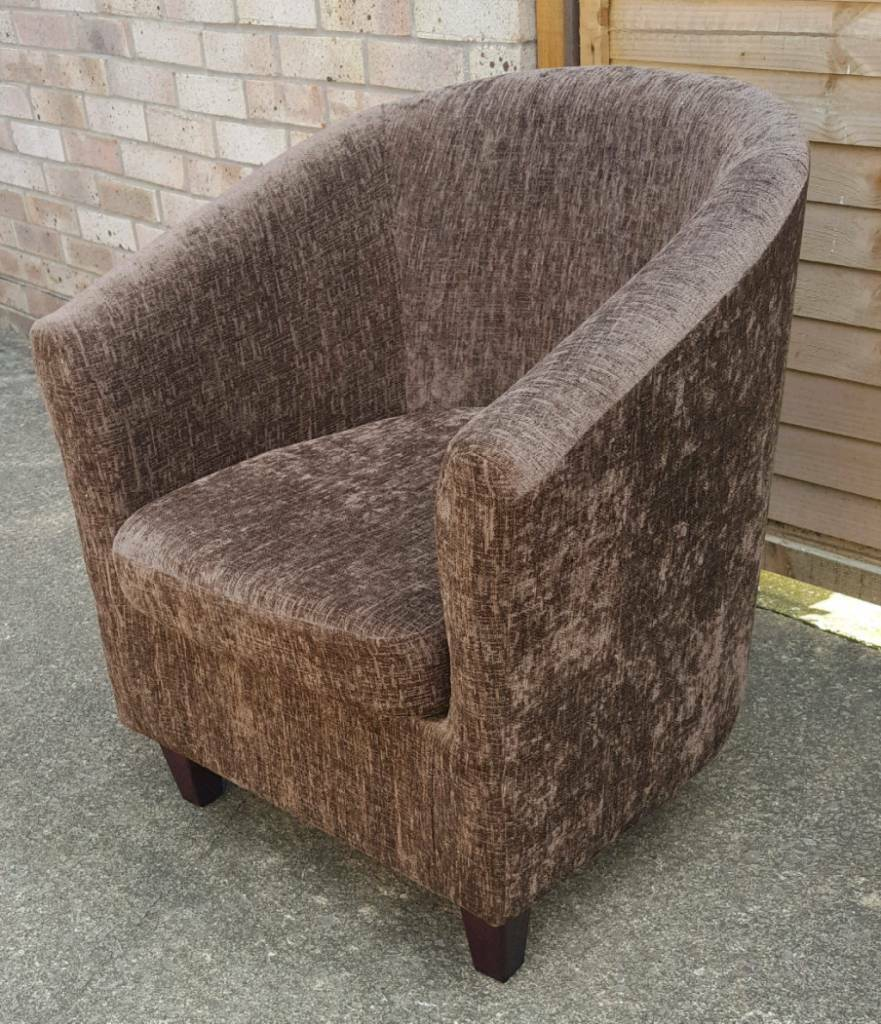 Two chocolate brown chenille tub chairs. Buy separately or together ...