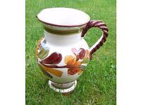 HAND PAINTED POTTERY JUG/PITCHER - HEIGHT 10 INCHES