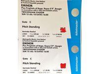 2 * Eminem tickets standing/Twickenham/Sun15th July/£250