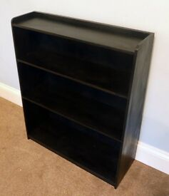 """Black Wooden Bookcase with two fixed shelves H35""""/89cm W30""""/76cm D10.5""""/27cm"""