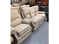 ** OATMEAL 3 SEATER SOFA & ARMCHAIR - CAN DELIVER **