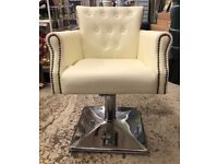 Cream Leather Salon Chair (2 available)
