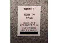 MCDONALDS WINNER NOW TV PASS