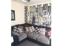 Grey & black corner sofa