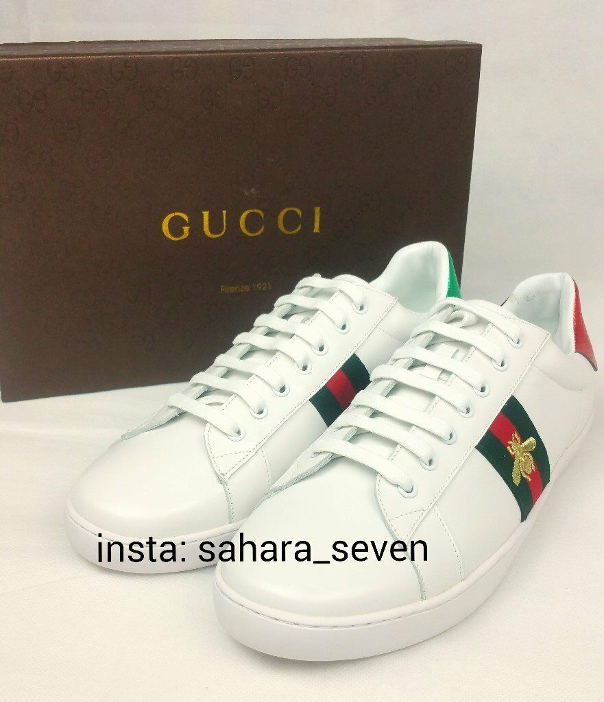 e7b88582c1c White Gucci Ace Shoes Trainers with Red and Green Stripe £90