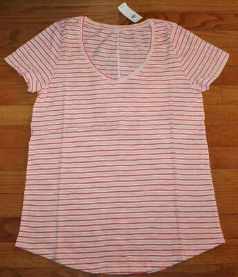 NEW NWT Womens GAP 100% Cotton V-Neck Easy Tee T-Shirt Pink Striped $19 *7K
