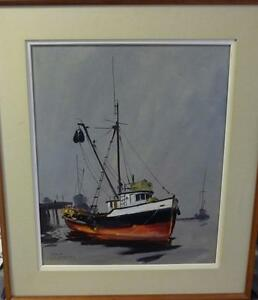 Listed Artist, Original Oil, Fishing Boat by Egbert Oudendag, Stratford Kitchener Area image 1