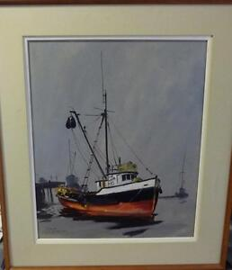 Listed Artist, Original Oil, Fishing Boat by Egbert Oudendag,