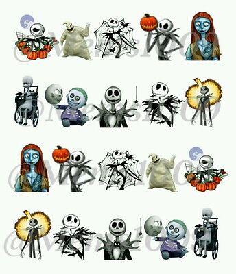 Halloween Nail art Decals (Water decals) Jack and Sally Nail Decals - Halloween Sally Nails