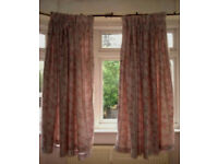 Silver Grey Curtains with Gray & Pink Print; 100% Cotton with lining; washable; Pencil Pleats