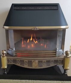 Gas fire, hearth and fire surround