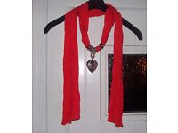 Ladies Red Scarf With Silver Heart