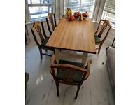 Farmhouse Country House Style Wood Dining Table with Set of Chairs Kitchen Table Wood White Rustic