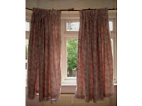 Silver Grey Curtains with Grey & Pink Print; 100% Cotton with lining; washable; Pencil Pleats