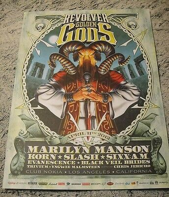 REVOLVER Golden Gods 2012 Print Poster Manson KORN Slash SIXX:AM & MORE 18x24