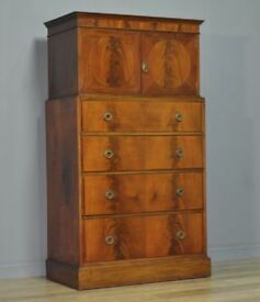 Attractive Large Vintage Mahogany Tallboy Cupboard Over Chest Of Four Drawers