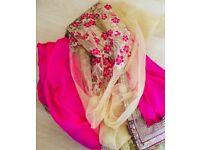 Pink and cream net saree