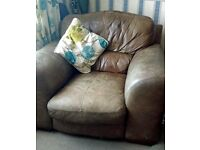 """Very Large soft leather 4 seater sofa and 2 chairs """"DFS"""""""