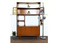 Schreiber Retro Mid Century 'Small & Tall' Medium Teak Slim Sideboard Bookcase Room Divider #344