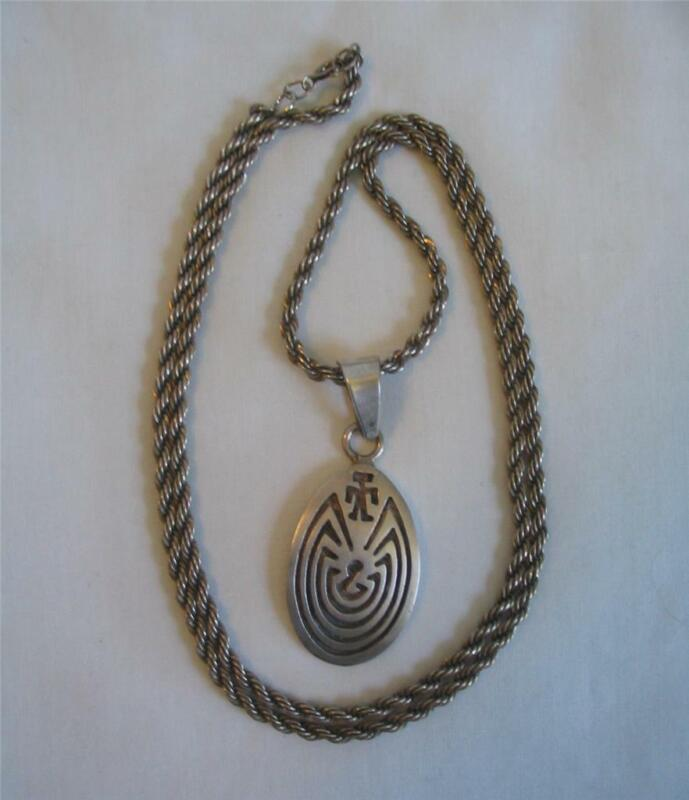 """VINTAGE STERLING SILVER~MAN IN THE MAZE~ PENDANT NECKLACE ~ 24"""" ROPE~25.5 GRAMS"""