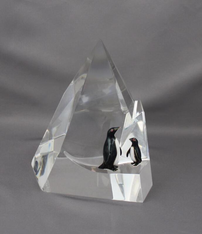 Rare Vintage c1970 Penguin Floe #1020 Steuben Crystal Sculpture Enamel Ruby Eyes