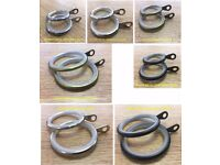 500 Assorted Curtain Rod Rings Chrome, Nickel, Antique, Metal 25/35mm Pole 20/30mm 80% Off RRP