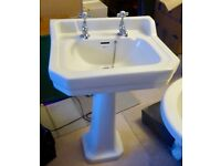 Bathroom pedestal sink and taps
