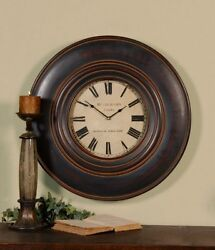Large 24 Masculine Dark Wood Wall Clock Traditional Antique Round Horchow Luxe