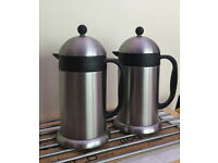 2 x 1.5 Lt S/Steel Thermal Cafetieres - BRAND NEW