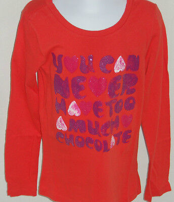 Gap Kids Girl's Orange 'you Can Never Have Too Much Chocolate' Shirt S(6-7)
