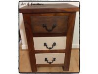Indian Solid Small Chest of 3 Drawers / Bedside Cabinet Hand Painted in Butterscotch Chalk Paint.