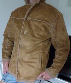 Beautiful Duke sheepskin Mans coat XL short to medium length arms
