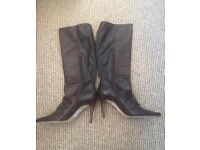 Faith dark brown leather boots - size 5