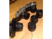 Old vintage SLR film camera bundle