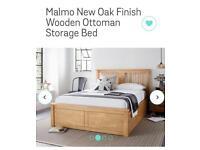 Malmo New Oak Finish Wooden Ottoman Storage Bed