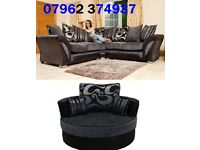 Black and Grey corner seater sofa and chair