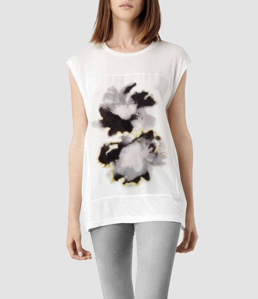 RRP £75 ALL SAINTS *AURA* Womens T-Shirt Top with SILK PANEL, Size Medium