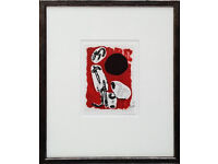 JOAN MIRO - HAND SIGNED LITHOGRAPH (RED) - c1972 - FRAMED (picture. print)