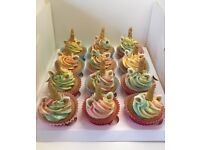 SPECIAL OFFER - 12 Beautiful Unicorn Childrens Girls Birthday Cupcakes - Boxed & Ready to Take Away