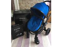 iCandy Peach 3 in Cobalt, excellent condition, inc cosy toes, raisers &a rain cover