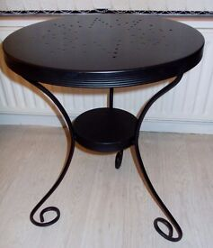 Black Round Wrought Iron Side Table