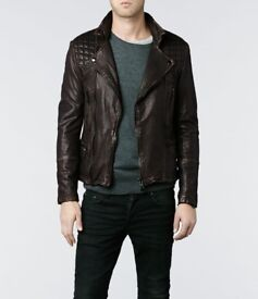 All Saints Leather Jacket - Brown - Men's - Small