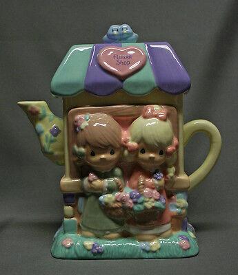 Precious Moments Flower Shop Teapot Figurine Houston Harvest Pastel Spring NICE