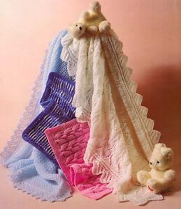 Knitting Pattern Baby Shawls (2) & Pram Covers(2) DK & 4 Ply | eBay