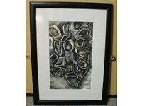 Original Painting 'Grey Stone' Watercolour and Pencil Crayon