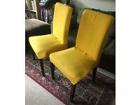 2 x Ikea Yellow Dining Chairs