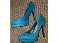 Ladies Teal High Heel Shoes VGC Size 5