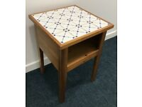 Lovely solid wood sidetable with blu & white ceramic tile top dining/ bedroom / living / kitchen